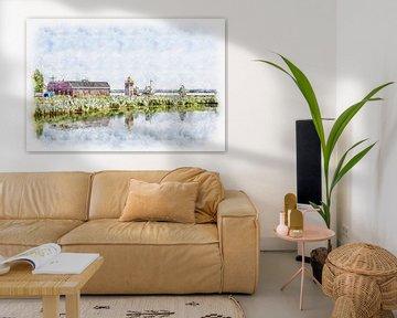 Maritiem verenigingsgebouw in Willemstad (Brabant) (aquarel) van Art by Jeronimo
