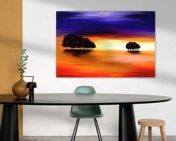 Landschaftsbild in Violett und Orange von Tanja Udelhofen