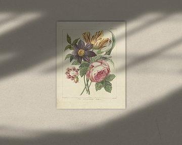 Boeket bloemen met pioenroos en tulp, Dirk Sluyter