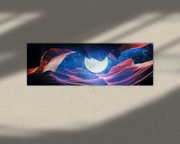 Grand Canyon met Space & Full Moon Collage I - v2 - Panoramic van Art Design Works