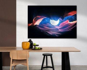 Grand Canyon met Space & Full Moon Collage I - v2 van Art Design Works