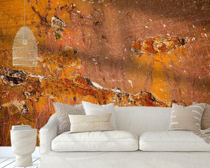 Sfeerimpressie behang: Rode scheepsromp met roestplekken van Frans Blok
