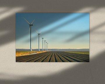 Moderne windmolen in Flevoland van Patrick Verhoef