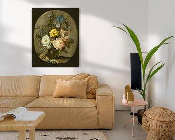 Blumen in einer Glasvase, Balthasar van der Ast