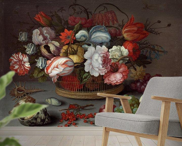Beispiel fototapete: Korb mit Blumen, Balthasar van der Ast