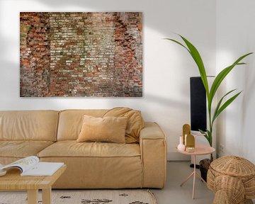 Baksteen oude muur  Hoge resolutie Full frame camera Fotobehang 5 van Olivier Photography