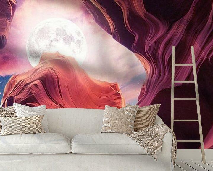 Sfeerimpressie behang: Grand Canyon met Space & Full Moon Collage II - Panoramisch van Art Design Works