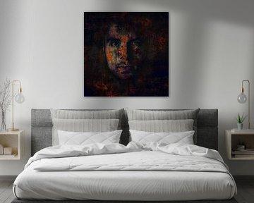 Digitale fotokunst - Portret van een man, mysterieus donker von Art By Dominic