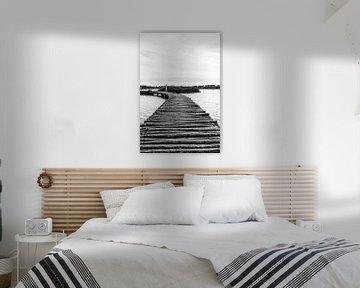 Holzbrücke in Schwarz-Weiß von marco de Jonge
