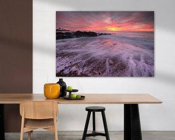 coucher de soleil sur la plage d'Audresselles - France