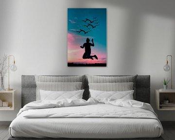 Kleurrijke zonsondergang met schaduw portret en vogels van Kim Bellen