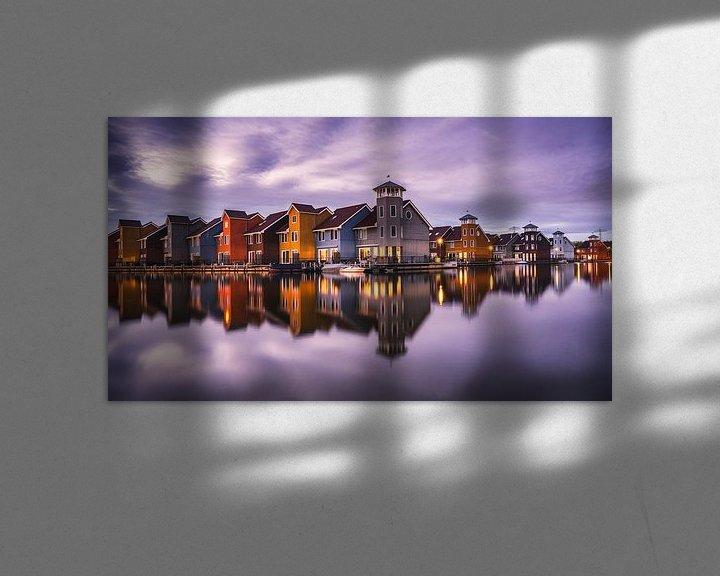 Sfeerimpressie: Fine-art foto van het Reitdiephaven in Groningen tijdens het blauwe uur van Harmen van der Vaart