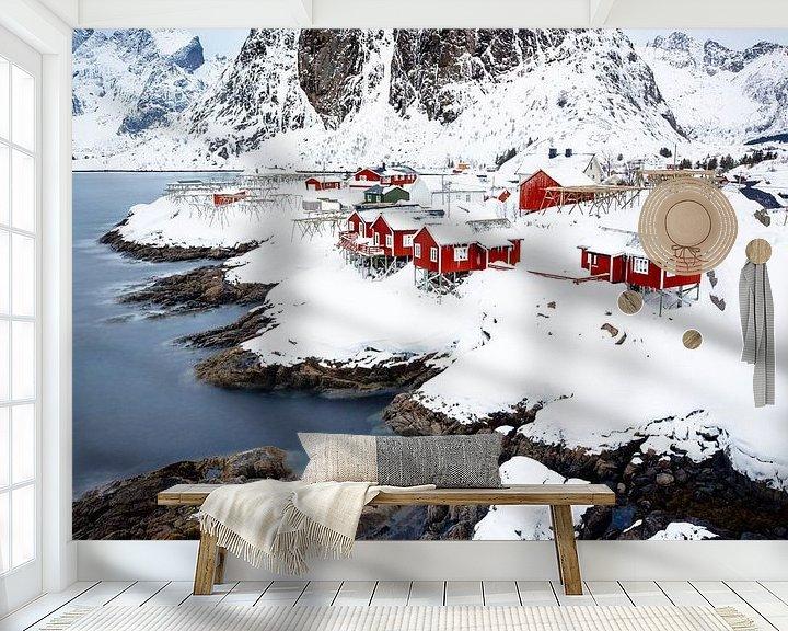 Sfeerimpressie behang: Het uitzicht van Hamnøy van Nando Harmsen