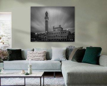 Palazzo Pubblico - Siena - Langzeitbelichtung - B & W von Teun Ruijters