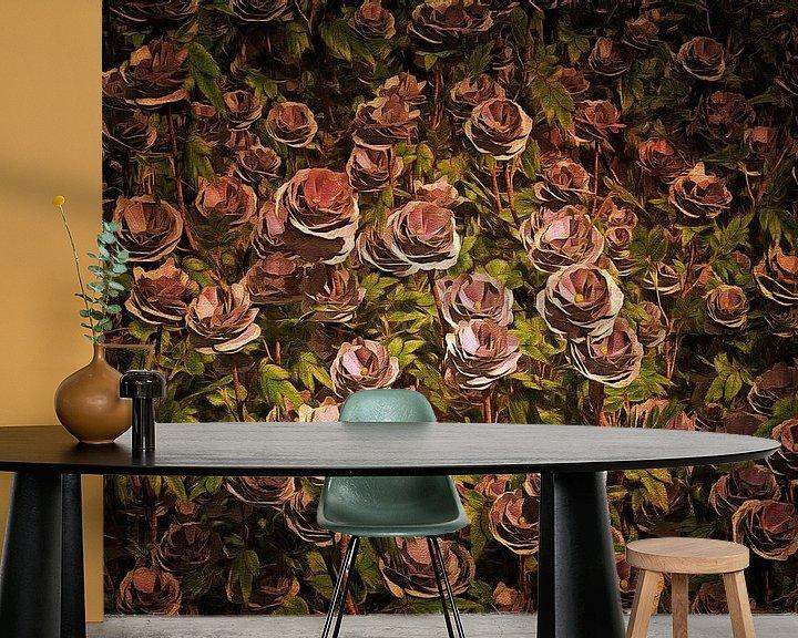 Sfeerimpressie behang: Rozen – Een veld van Oud roze rozen van Jan Keteleer