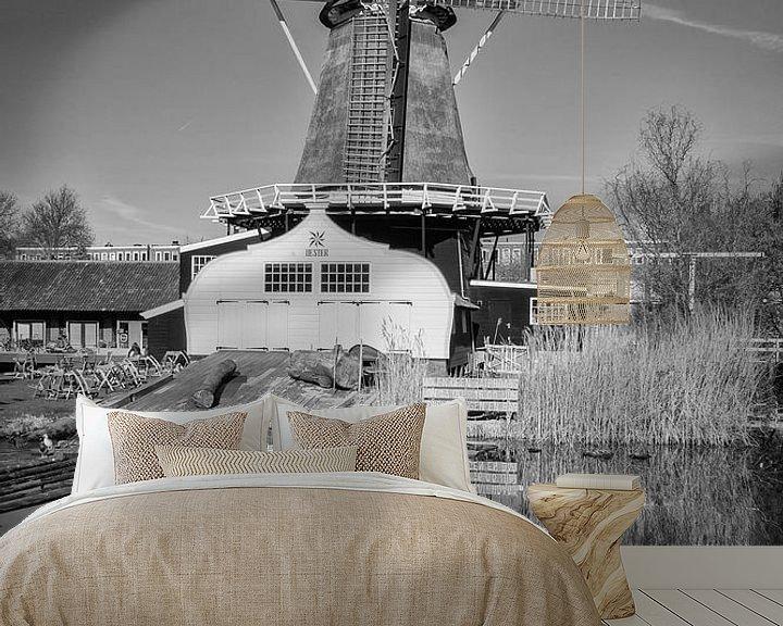 Impression: Molen de Ster in Utrecht met zijn reflectie in zwart-wit sur De Utrechtse Grachten