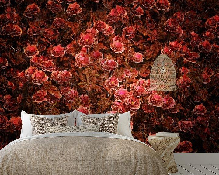 Sfeerimpressie behang: Rozen - Roze Bionica-rozen van Jan Keteleer