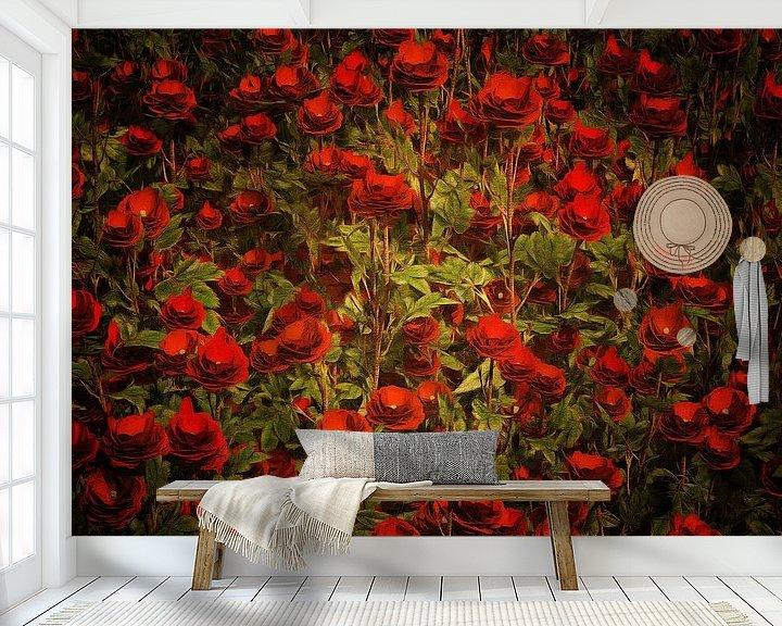 Sfeerimpressie behang: Rozen - Rode rozen van Jan Keteleer
