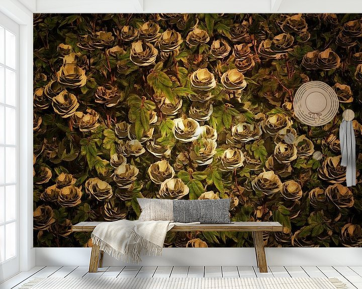 Sfeerimpressie behang: Rozen - witte rozen van Jan Keteleer