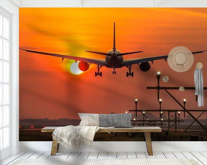 Sfeerimpressie behang: Singapore Airlines Airbus 350 landt op Schiphol van Dennis Dieleman