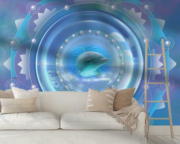 Sfeerimpressie behang: Mandala - Dolfijn van Shirley Hoekstra
