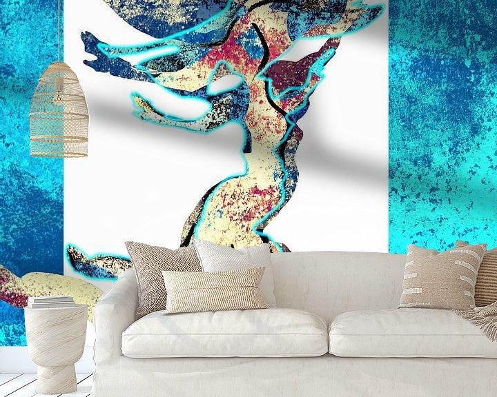 Beispiel fototapete: Tänzerin in blau von ART Eva Maria