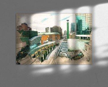 Gemalte Rotterdamer Dächer III, Der Koopgoot von Arjen Roos