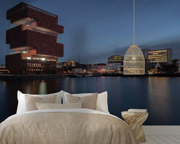 Sfeerimpressie behang: Citylights MAS Antwerpen van Evy De Wit