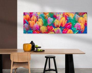 abstracte tulpen in een panorama beeld