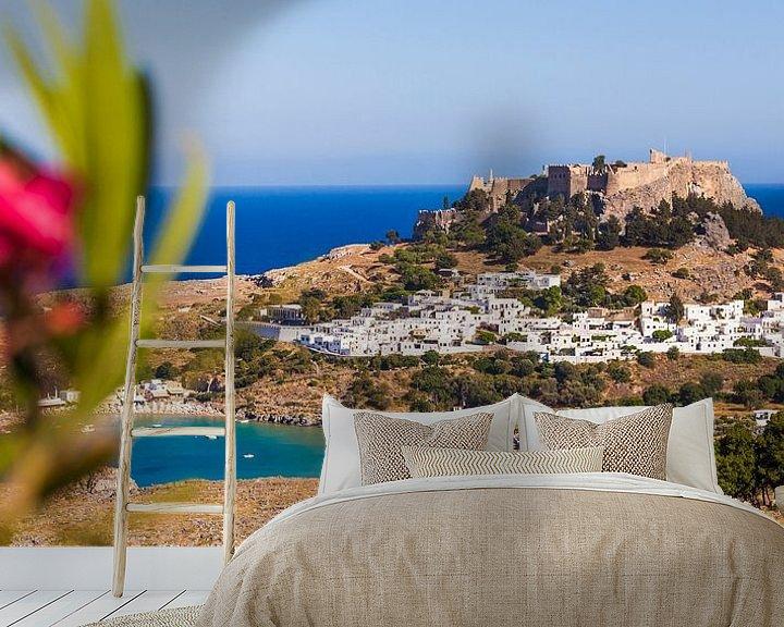 Sfeerimpressie behang: Lindo's op het eiland Rhodos in Griekenland van Werner Dieterich