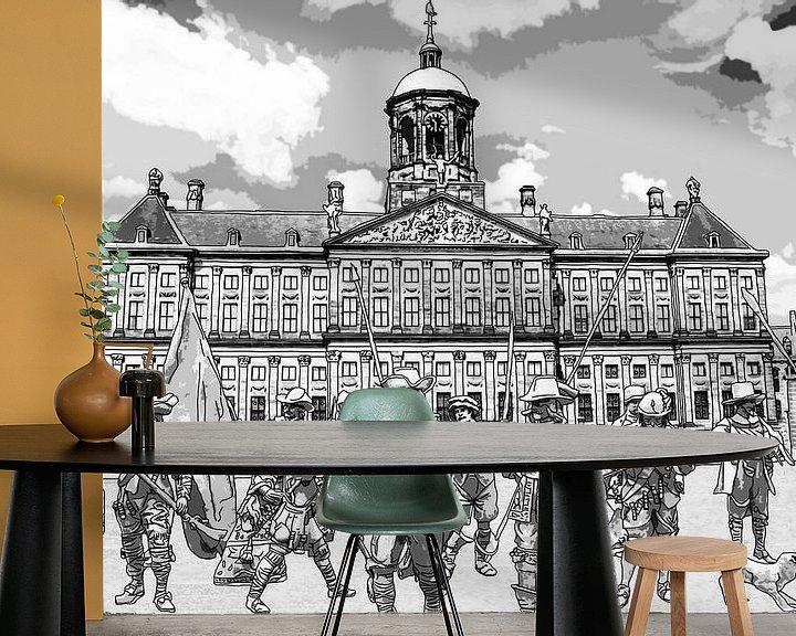 Beispiel fototapete: Zeichnung Die Nachtwache auf dem Dam in Amsterdam von Hendrik-Jan Kornelis