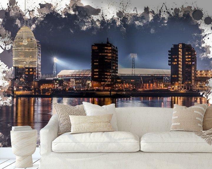 "Sfeerimpressie behang: Feyenoord ART Rotterdam Stadion ""De Kuip"" Nachtbeeld van MS Fotografie   Marc van der Stelt"