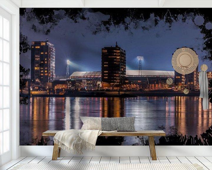 "Sfeerimpressie behang: Feyenoord ART Rotterdam Stadion ""De Kuip"" Nachtbeeld van MS Fotografie | Marc van der Stelt"