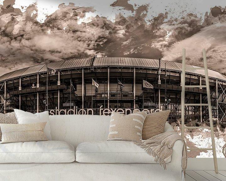 "Sfeerimpressie behang: Feyenoord ART Rotterdam Stadion ""De Kuip"" Sepia van MS Fotografie | Marc van der Stelt"