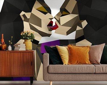 Abstracte / figuratief kunstwerk van vrouwen die elkaar kussen van Pat Bloom - Moderne 3D, abstracte kubistische en futurisme kunst
