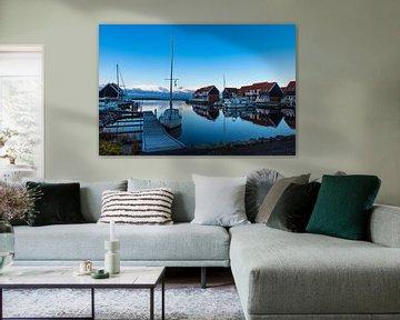 View to the port of Klintholm Havn in Denmark van Rico Ködder