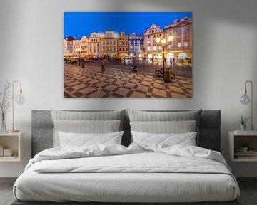 Oude stadsring in Praag van Werner Dieterich