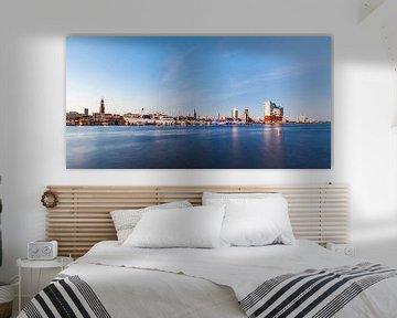 Hamburg met de Elbphilharmonie in de avond met de Elbphilharmonie van Werner Dieterich