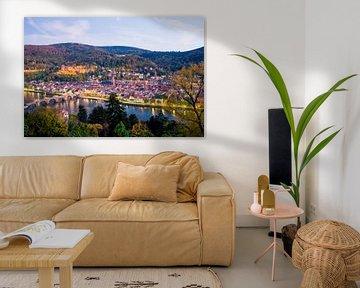 Heidelberg met het kasteel bij zonsondergang van Werner Dieterich
