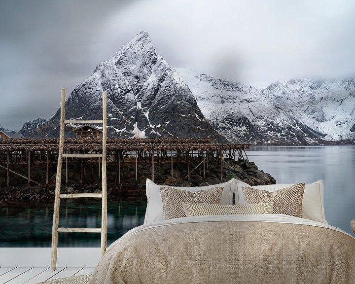 Sfeerimpressie behang: Nusfjord, Norway Lofoten van Ab Wubben