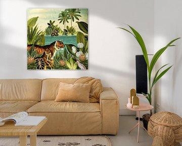 Jungle met tijger en tropische planten von Studio POPPY