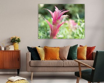 Roze bloem in groen veld. von Mariëtte Plat