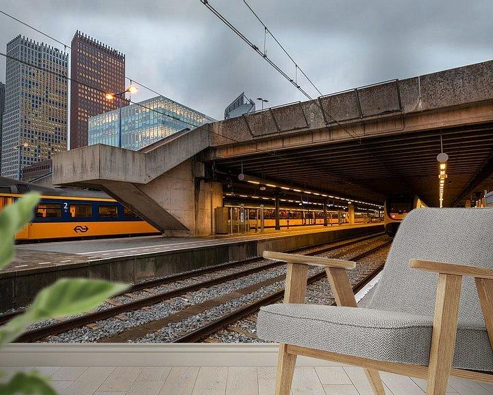 Beispiel fototapete: Treinstation Den Haag met spoor en hoogbouw von Rob IJsselstein