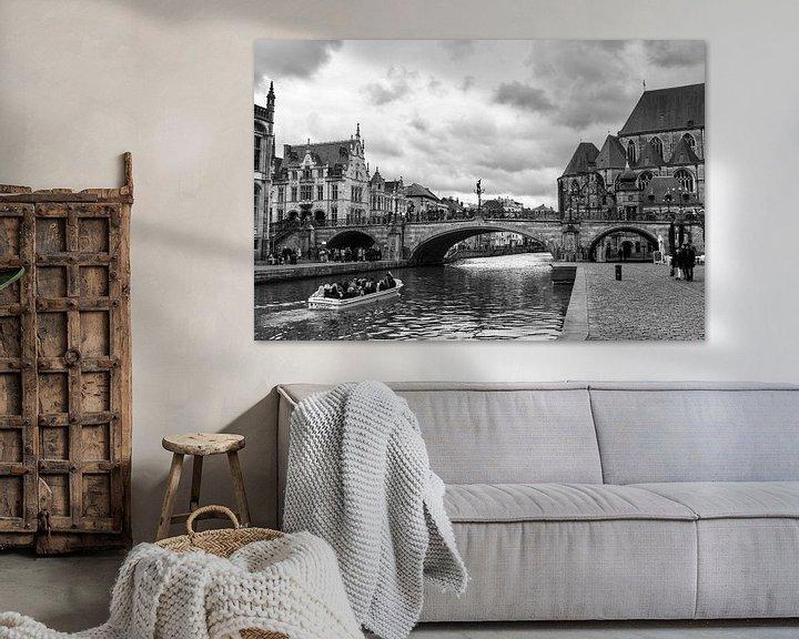 Sfeerimpressie: Sint-Michielsbrug, Gent België van Ingrid Aanen