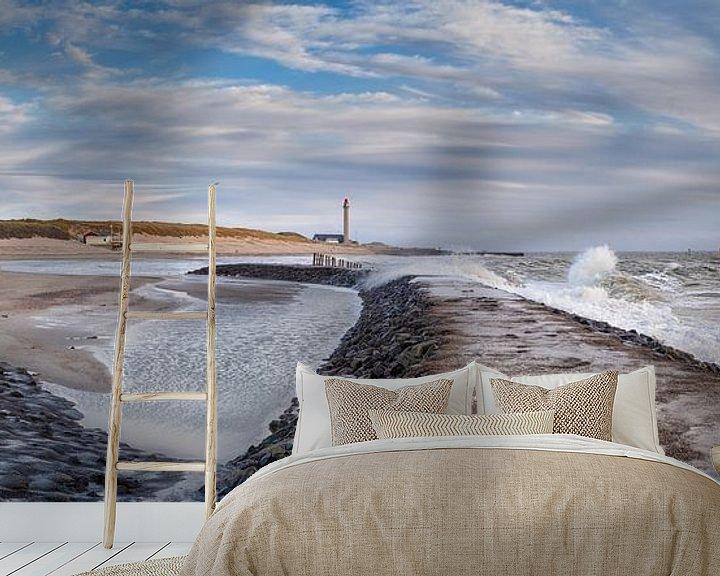 Sfeerimpressie behang: Panorama: storm bij Westkapelle van Sander Poppe