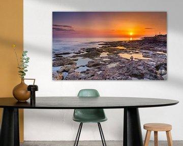 Sunset bij Paphos, Cyprus van Adelheid Smitt
