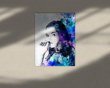 Digitale Fotokunst - Porträt einer Frau in Aquarell / Gesicht / Augen / Lippen / Abstrakt / Farbe /  von Art By Dominic