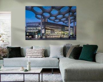 Les gens marchant sous le toit en forme de bulbe font leurs courses dans le centre commercial Hoog C