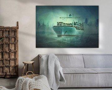 Containerschip op de Elbe van Sabine Wagner