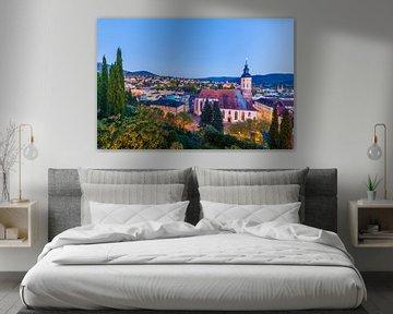 Baden-Baden mit der Stiftskirche am Abend von Werner Dieterich
